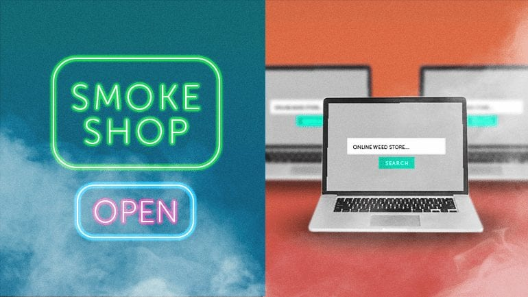 A neon smoke shop sign and computers