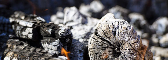 burnt wood ash in fire place