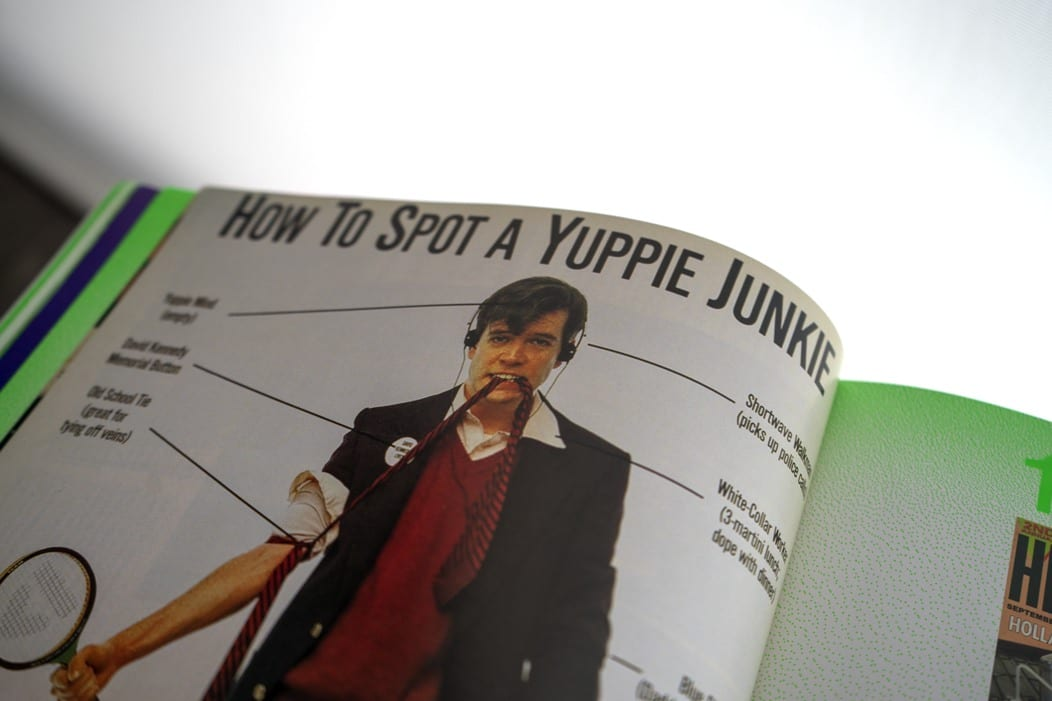 Page in high times book open how to spot a yuppie junkie art