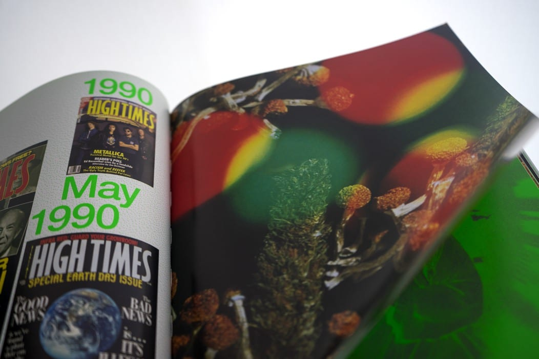 High Times book open to a psychedelic picture