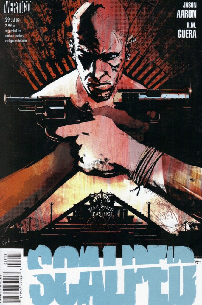 Scalped comic book cover with 2 guns pointing at each-other and a man inbetween