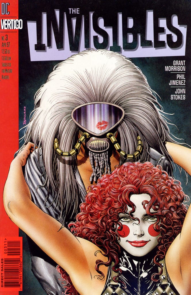 The invisibles comic book cover with a man and a woman