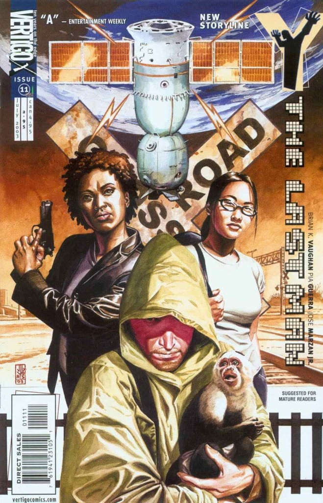 The Last Man comic book cover with 2 women, a monkey, and one man