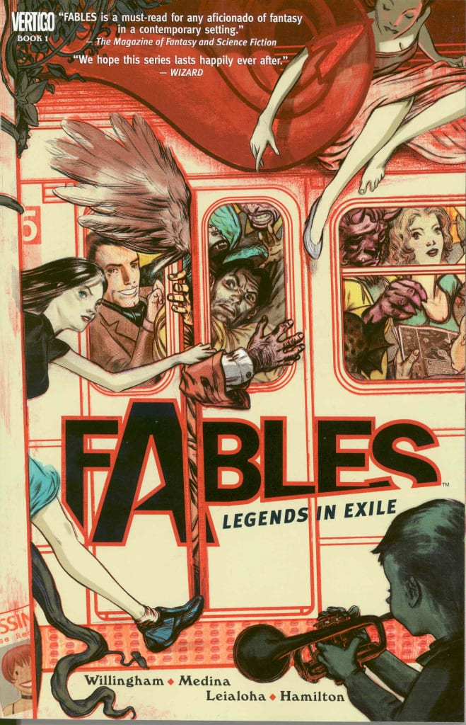 Fables comic book cover with people crammed on a train
