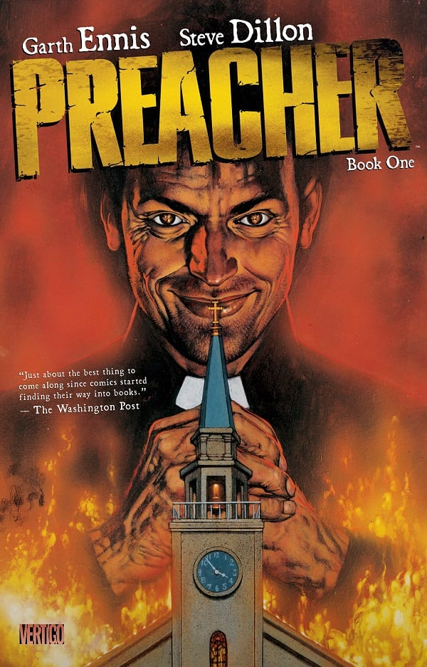 Preacher comic book cover an evil priest