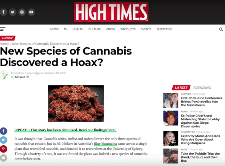 High Times news article about a new species of cannabis