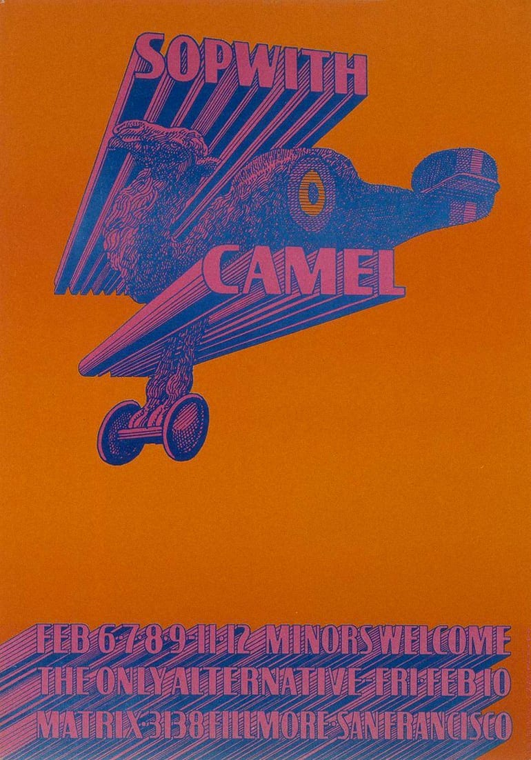 Psychedelic art poster wih a flying camel by victor moscos