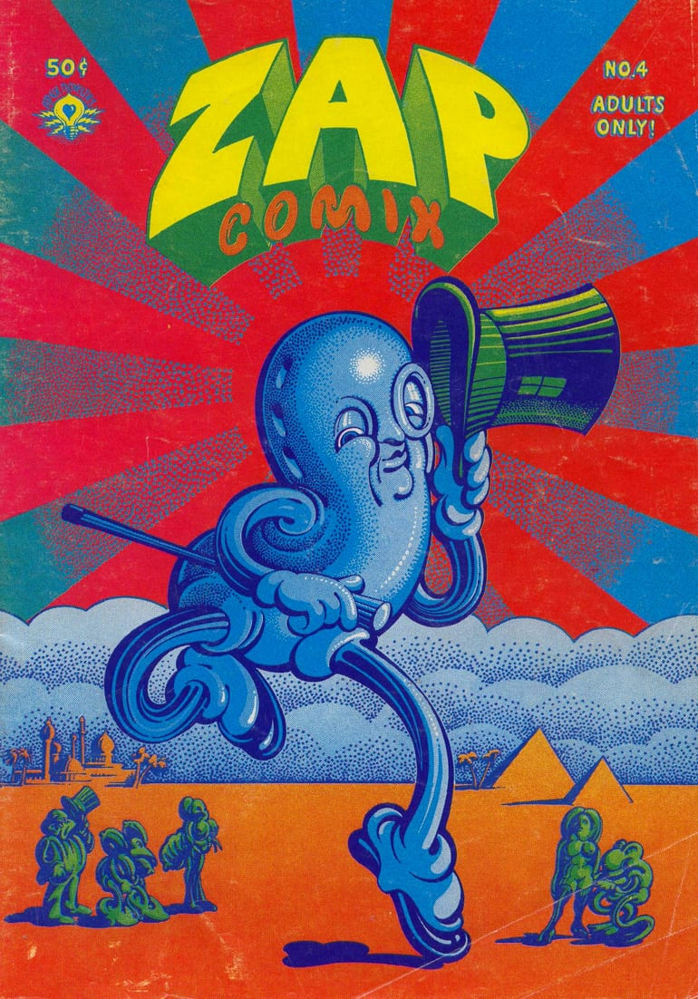 Zap comix poster with a dancing peanut by victor moscos