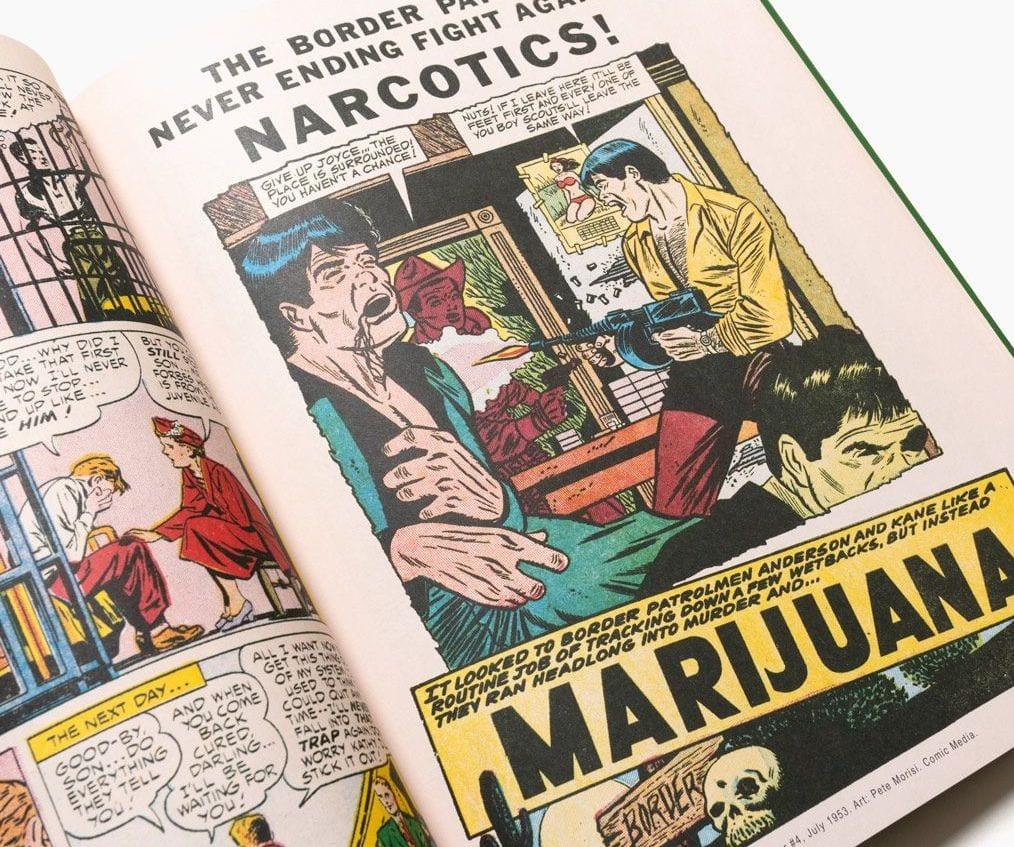Reefer Madness book opened to a comic strip graphic of a man firing a gun