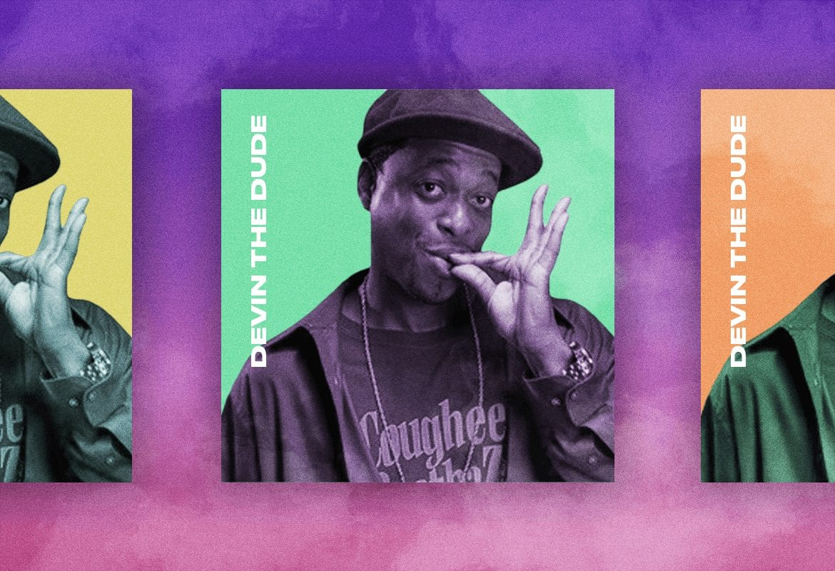 Devin the dude smoking a joint on an album cover