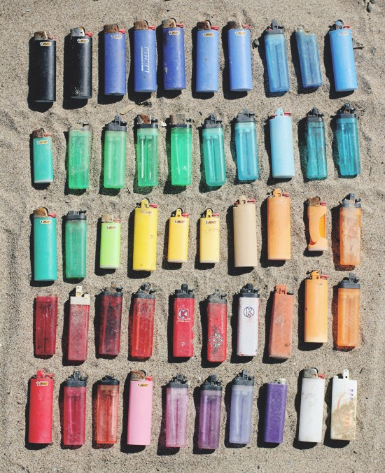lighters on a beach