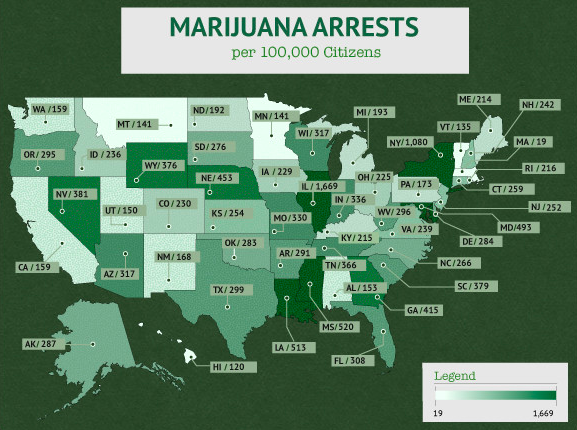 marijuana arrests in the united states per state